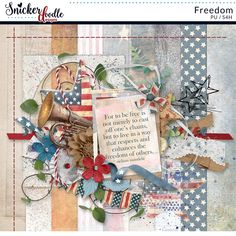 Holidays are a time when families come together. July 4th is Independence Day in the U.S, celebrating our separation from Great Britain back in 1776. We celebrate with fireworks, parades and family cook outs. Freedom by Snickerdoodle Designs features plenty of red, white, and blue, and stars and stripes. Create digital scrapbook pages, digital or printable greeting cards, or print-and-cut table decorations with this little Mini full of patriotic elements!