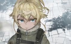 Blonde, anime, tanya degurechaff, face wallpaper