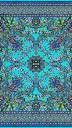 Mystique - Paisley Fronds: Quilt Fabrics from . Design Textile, Design Floral, Textile Patterns, Print Patterns, Boho Pattern, Paisley Pattern, Pattern Design, Paisley Art, Paisley Design