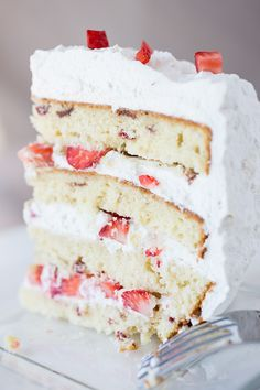 "Strawberries 'n Cream ""Cloud"" Cake Recipe"