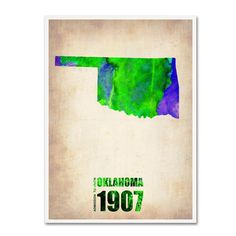 24 in. x 18 in. Oklahoma Watercolor Map Canvas Art