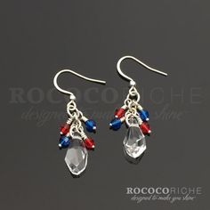 Red, White, and Blue Crystal Earrings for Fourth of July