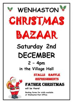 Date For Your Diary: Saturday 2 December 2017. Wenhaston Christmas Bazaar. 2pm - 4pm Wenhaston Village Hall, IP19 9EQ Long established annual event with lovely selection of Christmassy stalls, refreshments, and a visit from Father Christmas. Come and buy your Christmas goodies.... and maybe treat yourself to a little something too. Hope to see you there :D xxx