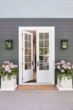 Tour the 2016 Southern Living Idea House in Mt. Laurel, Alabama Front door of the 2016 Southern Living Idea House in Birmingham, Alabama House Design, Southern Living Homes, French Doors Exterior, Exterior Patio Doors, House, Exterior Doors, Front Door, Doors, House Exterior