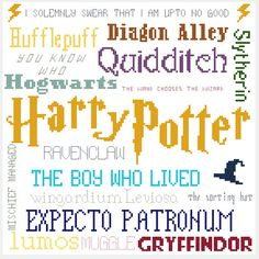 Harry Potter Collage Cross Stitch Pattern by scifistitches on Etsy