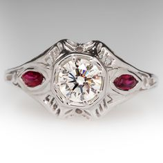 Vintage Filigree Diamond Ring w/ Ruby Accents 18K