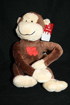 "NEW Dan Dee Monkey Brown Plush Swinging Sam 12"" Hearts Valentines Day Stuffed"