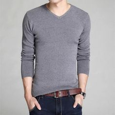 2016 new winter men's sweater men's V-neck sweater bottoming Slim solid color long-sleeved sweater Hot Sale