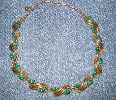 Coro Necklace Vintage Costume Jewelry Green Rhinestones by HerMaj, $21.99