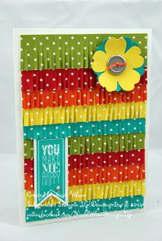 Stampin' Up! rainbow flower card. Real red, Tangerine Tango, Old Olive, Daffodil Delight and Bermuda Bay. Pansy Punch Flower with Basic metal button and Perfect Pennants stampset and Banner Dies. Fringing Scissors www.facebook.com/NicoleWilsonStampinUp
