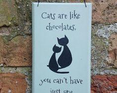 Katzen oder Hunden aus Holz, hängende Zeichen Platte Plaque Hand bemalte Katze Hund Liebhaber Geschenk