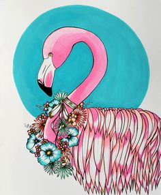 pretty birdie flamingo art print of original by ming schipper on Etsy, $20.00
