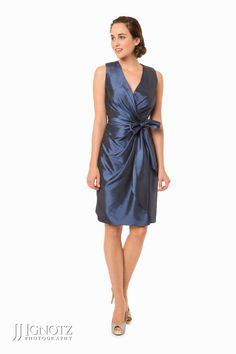 Bari Jay Look Book - short, blue bridesmaid dress
