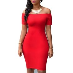 Off-The-Shoulder Short Sleeve Red Dress