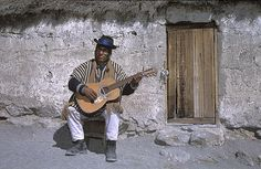 Playing guitar in the Andes