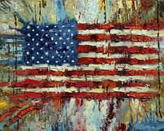 """Free Spirit"" Archival Print on Canvas of The American Flag 018 American Flag Painting, American Flag Art, American Pride, Canvas Art, Canvas Prints, Painting On Wood, Abstract, Artwork, Patriotic Crafts"