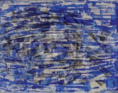 "Herbert Zangs | Herbert Zang ""Scheibenwischerarbeit auf Leinwand"", 1957, 73 x 92 cm ..."