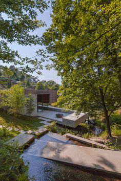 The geometry and progression of spaces in this hillside garden is wonderful! // Gerês House by Carvalho Araújo, Arquitectura e Design. Home Garden Design, Home Interior Design, Exterior Design, Interior Decorating, Decorating Games, Room Interior, Decorating Blogs, Interior Paint, Nature Architecture