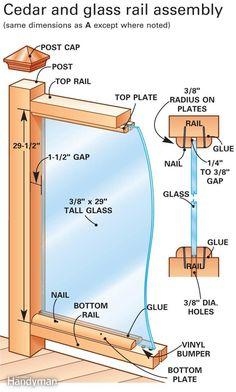 Glass rail assembly. Mais evitez la colle et les clous... juste des vis inox pour fixer les parcloses !