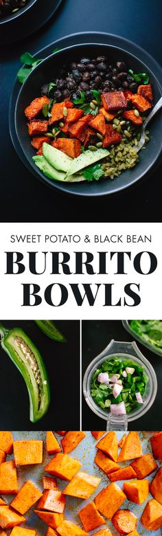 Amazing roasted sweet potato burrito bowls with green rice and black beans. cookieandkate.com