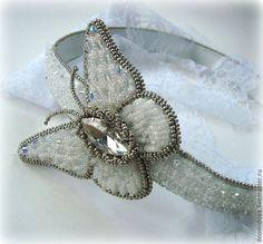 """Купить Повязка для волос """"Хрустальная бабочка"""" - белый, романтичное украшение, обруч для волос, обруч, ободок"""