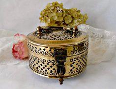 Vintage Brass Round Cricket Box Pierced Brass Box by GSaleHunter