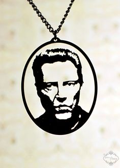 Christopher Walken tribute silhouette necklace, portrait pendant in black stainless steel on Etsy, $34.00 AUD