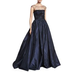 Oscar de la Renta Embellished Patchwork-Lace Gown ($4,920) ❤ liked on Polyvore featuring dresses, gowns, oscar de la renta, dark navy, strapless dress, lace gown, strapless lace gown, full skirt and lace evening gowns