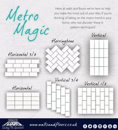 Check out these 6 different techniques to create interesting designs with Metro tiles. Try using a combination of monochrome and candy colours.