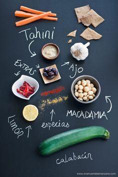 Ingredientes para hummus paleo de calabacín
