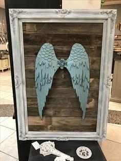 Angel wings metal on old reclaimed wood in a fancy vintage frame. By Gilbert Marketplace Angel Wings Wall Art, Angel Wings Wall Decor, How To Make Metal, Diy Angels, Old Frames, Wooden Frames, Wooden Angel, Angel Crafts, Diy Snowman