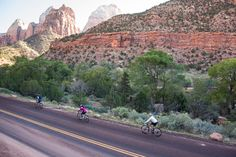 Experiencing luxury camping with Tours, clients can cycle in Zion National Park on TerraVelo's arches, canyons and hoodoos trip in southern // © 2015 TravelAge West/TerraVelo Tours Utah Camping, Yellowstone Camping, Camping World, Best Vacations, Vacation Destinations, Zion National Park, National Parks, Lake George Village, Summer Vacation Spots