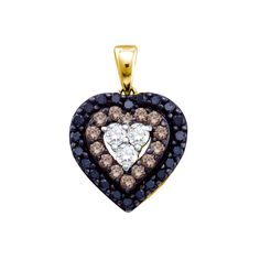 14kt Yellow Gold Womens Round Black Colored Diamond Heart Love Pendant 1/2 Cttw