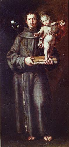 St Anthony of Padua | http://www.saintnook.com/saints/anthony-of-padua/ | File:San Antonio de Padua by Antonio del Castillo.jpg