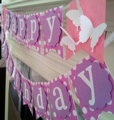 Pink and Purple Dot Birthday Banner by LittlePeanutGallery on Etsy, $24.00