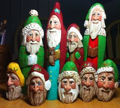 Hand-carved and painted wooden Santas by Elizabeth Brown, Liverpool, NS - CORNER CUT LAYOUTS