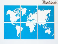 Large World Map Wall Art Original Painting Made by RightGrain