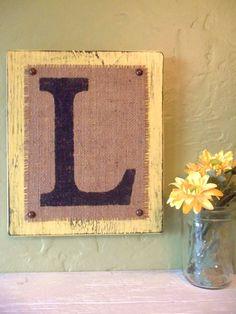 Monogram L Wood and BURLAP SIGN Letters Custom L block - YELLOW wood -