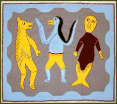 pictoral textiles -  featuring three spirit figures, representing the elements of earth wind and water - by Inuit artisan Irene Avaalaaqiaq