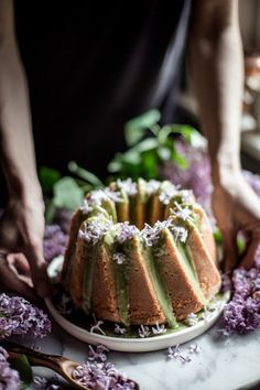 lilac cake with matcha glaze (gluten-free) - oh honey bakes