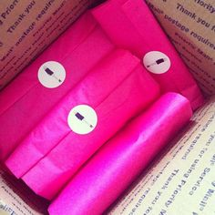Hot pink packaging from Design Darling | mackenziehoran, Instagram