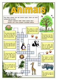 REading activity and vocabulary revision. Verbs to be and have used to describe animals. Students must identify each of the given animals following the instractions. Key providedIt can be used with another of my ws: https://en.islcollective.com/resources/printables/worksheets_doc_docx/animals/present-simple-tense/79727https://en.islcollective.com/resources/printables/worksheets_doc_docx/animals_-_wordsearch/animals/82809 - ESL worksheets