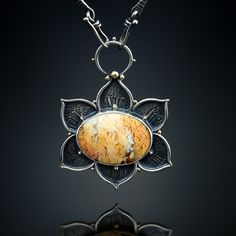 Plume Agate Centerpiece. Fabricated Sterling Silver and 18k. Amy Buettner