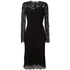 Dolce & Gabbana floral lace midi dress (3,670 NZD) ❤ liked on Polyvore featuring dresses, black, long sleeve dress, floral print dress, lace slip dress, knee length lace dress and floral lace dress