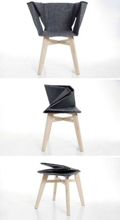 A folded chair that became a stool: 12002198 Pixel Design Meubel 1 200 2 198 Pixel Foldable Chairs Design Mobili Artemis Folding Chairs Origami Design Furniture Design Studios Folding Furniture, Origami Furniture, Cool Furniture, Furniture Design, Folding Chairs, Origami Chair, Furniture Ideas, Compact Furniture, Multifunctional Furniture