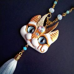White Egyptian Sphinx cat necklace by FleurDeLapin