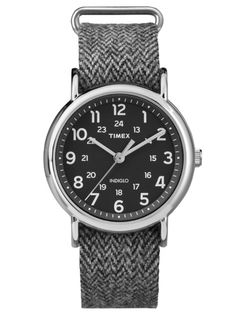 Timex Weekender Full Size Slip Thru Tweed Strap Watch with Case - Black/Silver Gents Watches, Sport Watches, Cool Watches, Watches For Men, Tweed, Fashion Casual, White Fashion, Men's Fashion, Chevrons