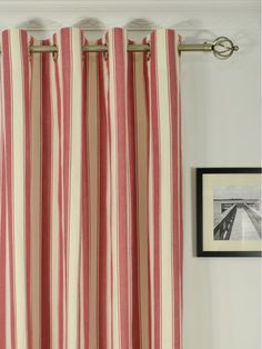 Moonbay Narrow Stripe Grommet Cotton Extra Long Curtains 108 120 Inch Panels Cheery