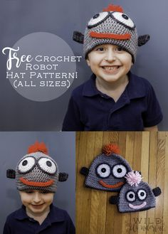 Free Robot Crochet Hat Pattern (All Sizes!) - Stitch and Unwind | Make one for the whole family!