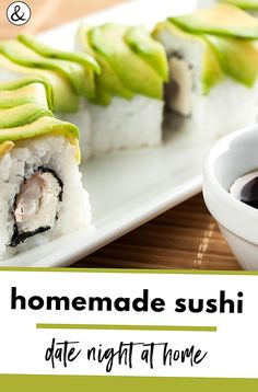 Make your own sushi night is a thing at our house. It makes the perfect date night in while making your own sushi rolls. Make Your Own Sushi, How To Make Sushi, California Roll Sushi, California Rolls, Homemade Sushi, Homemade Cheese, Types Of Sushi Rolls, Sushi Wrap, Raw Sushi